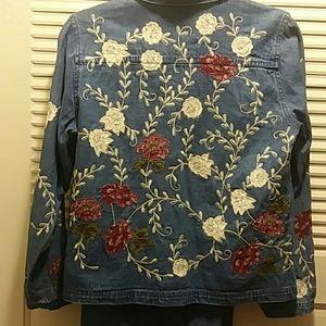 Pretty Denim Embroidered Jacket & Skirt